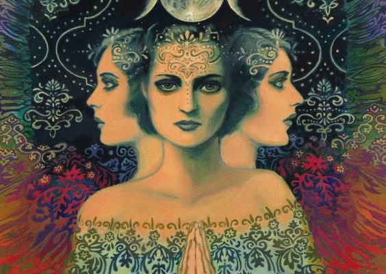 Drawing of a 3 women - one facing the viewer, the other two in profile to her, facing in opposite directions. There is a moon above the head of the woman in the center.